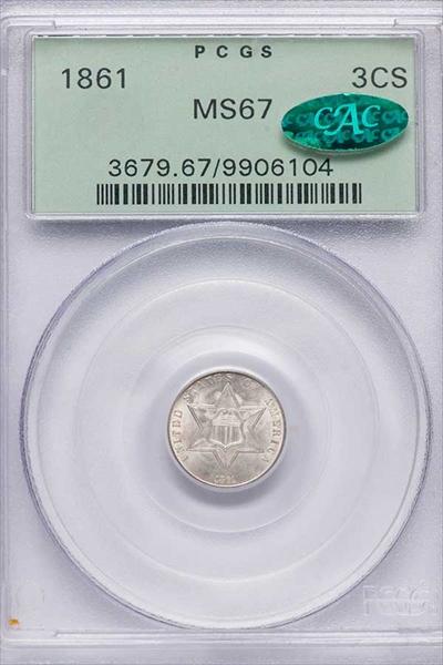 GFRC Open Set Registry - Winesteven 1859-1872 3Cent Silver Type 3 3C